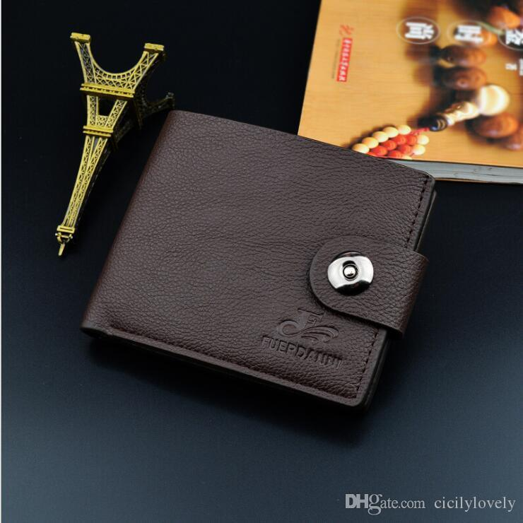Wholesale- New PU leather wallet men wallets luxury brand clutch wallet Brown money clip men's leather wallet male purse