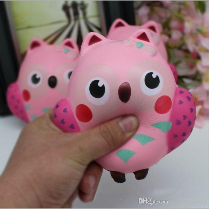 New 12CM Squishy Kawaii Cute Pink Owl PU Soft Slow Rising Phone Strap Squeeze Break Kids Toy Relieve Anxiety Fun Gift