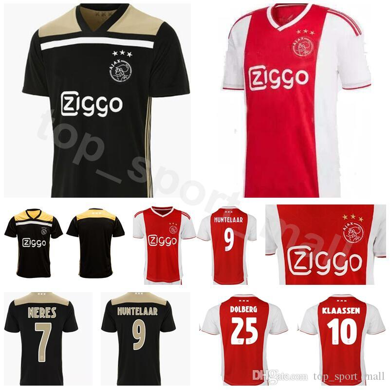 a88da829db8 2019 2018 2019 Men Soccer AFC Ajax Jersey 7 NERES 9 HUNTELAAR 10 ZIYECH 25  DOLBERG 14 CRUYFF Football Shirt Kits Team Red Black From Vip_sport, ...