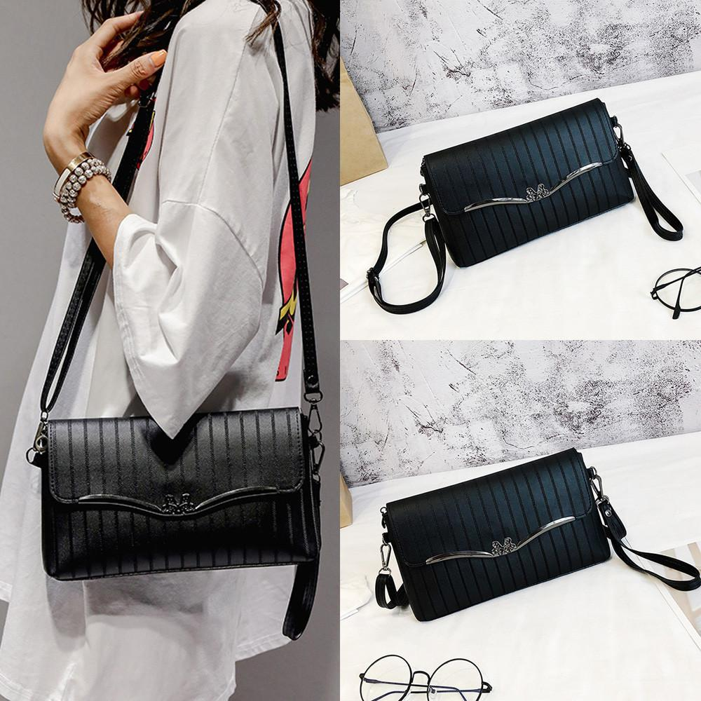 Vintage Women Bow Stripe Leather Crossbody Bag Messenger Bag Shoulder High Quality bags 2018 for women