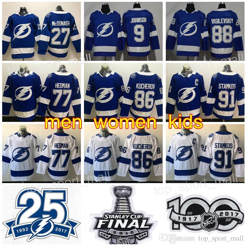online store 97013 c1c79 Men Kids Women Tampa Bay Lightning 88 Andrei Vasilevskiy Jersey 86 Nikita  Kucherov 27 Ryan McDonagh 91 Steven Stamkos Hockey Blue White 25th
