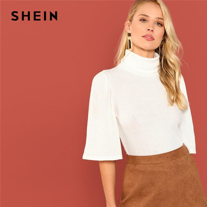 9951612d977fb SHEIN White Three Quarter Length Sleeve High Neck Ribbed Knit Pullovers  Slim Tee Autumn Office Lady Casual Women Tshirt Top Fashion Shirt Tee Shirt  Designs ...