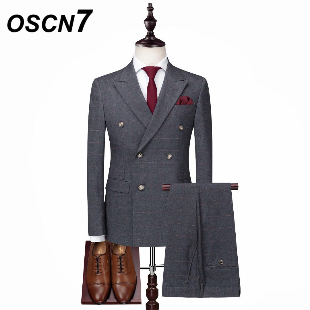 Compre OSCN7 Doble Pecho Traje Hombres 3 UNIDS Slim Fit Ocio 2018 Nuevos  Trajes Para Hombre Otoño Caballero Terno Masculino XZ072 A  153.26 Del  Alberty ... c3174952814