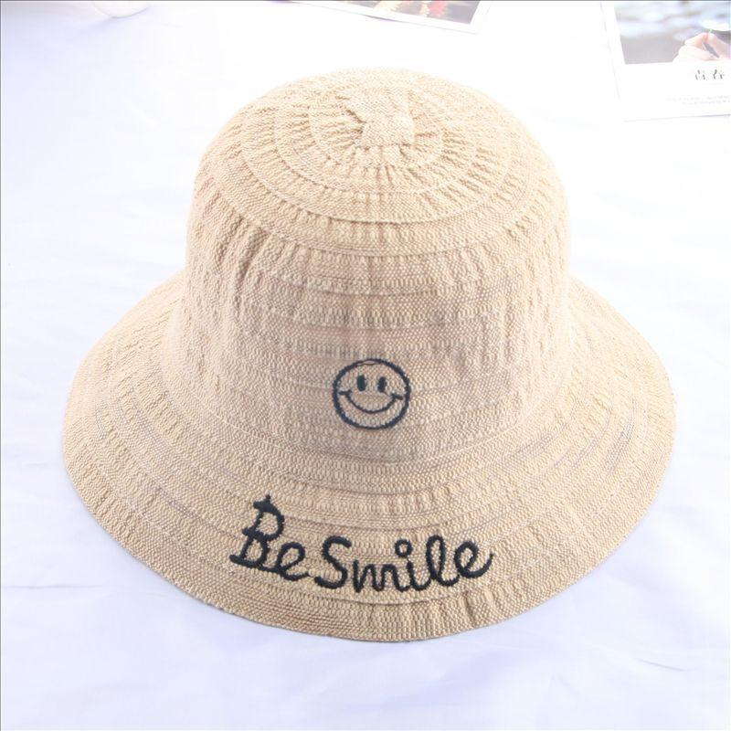 385aed486ae Summer Hiking Caps Kids Be Smile Letter Sunshade Hats Embroidery ...