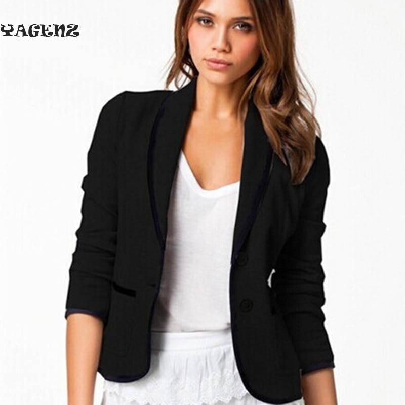 ea050b749526 2019 Women Short Coat Jackets Office Ladies Blazer Black Grey Big Size New  Fashion Spring Fall Coats Women S Turn Down Collar Slim B9 From Buxue