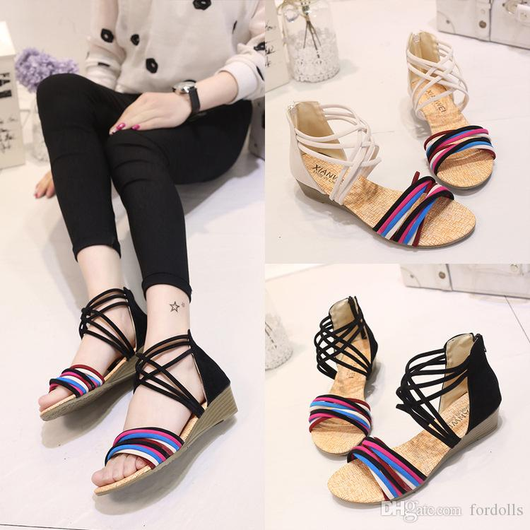 e498c8f5ffc0ef Bohemian Wedges Sandals Summer Low Heels Shoes Women Gladiator ...