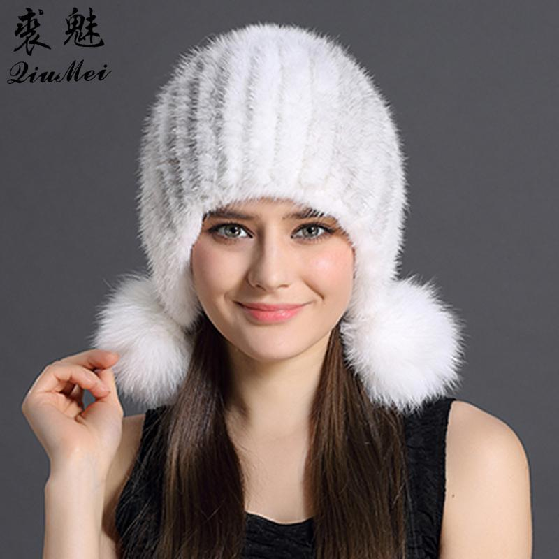 a434e89fc Real Mink Fur Hat Women Winter Hats Knitting Protected Ear And Head Cap  With Cute Pompoms Russian Female Beanies Thick Mink Hats D18110102