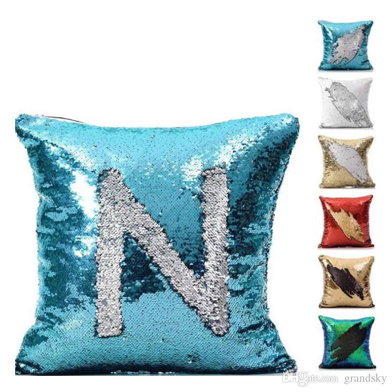 Mermaid Pillow Cover Glitter Reversible Sofa Magic Double Reversible