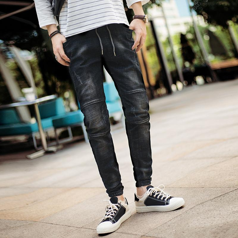 2018 Autumn New Biker Jeans Men Black Classic Fashion Casual Slim Waist Elastic Drawstring Personality Trend Street Pants