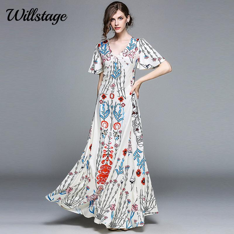 fe78e4c205b Willstage 2018 Summer Boho Maxi Dress Short Flare Sleeve Deep V Neck Long  Dresses Muslim Style Elegant Women Vestido Beach Wear Dressess Woman Dress  From ...