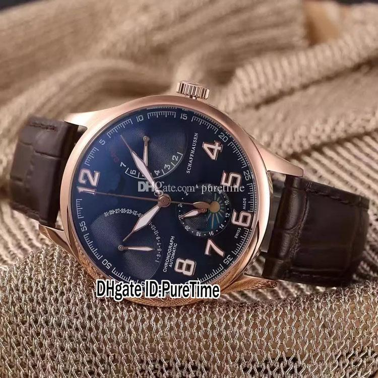 New Portugieser Rose Gold Silver Dial DayDate Moon Phase Complex Functions Automatic Mens Watch Black Leather Strap Glass Back Watches 272a1