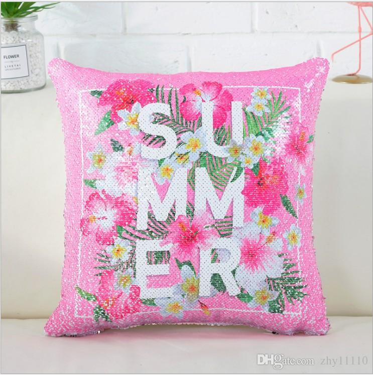 Print Mermaid Sequin pillow Cover magical color changing reversible sequin throw pillow Home Decor Cushion Cover Decorative Pillowcase