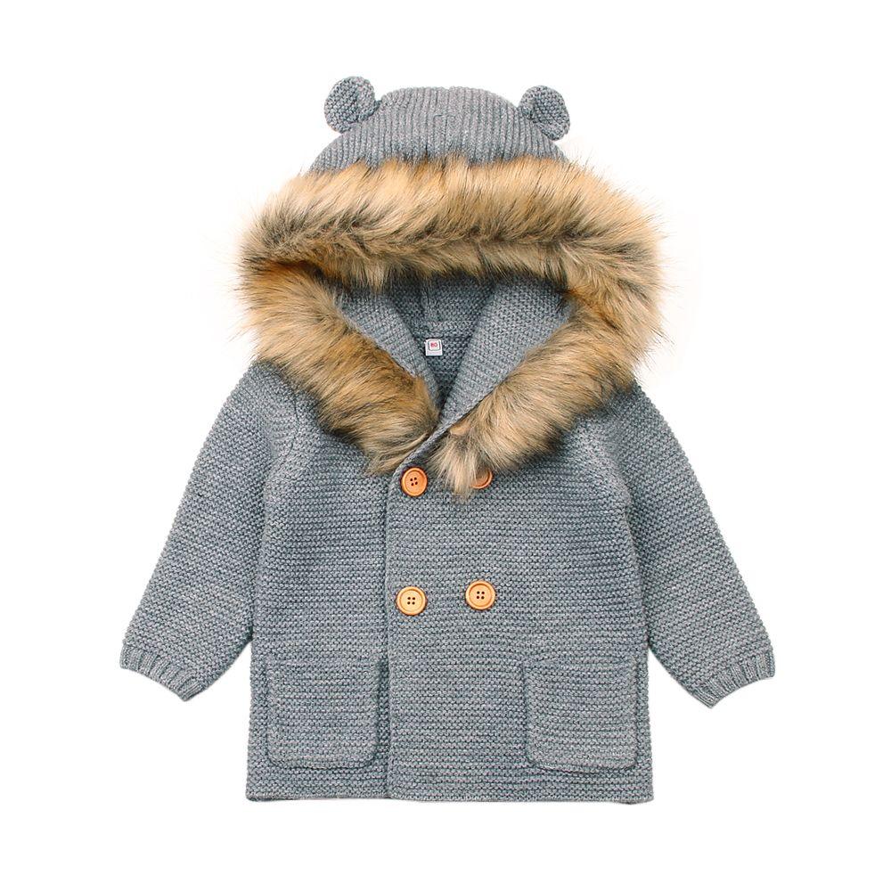 5b67e4cda1e1 Newborn Baby Sweater Fur Hood Detachable Infant Boys Girl Knied ...