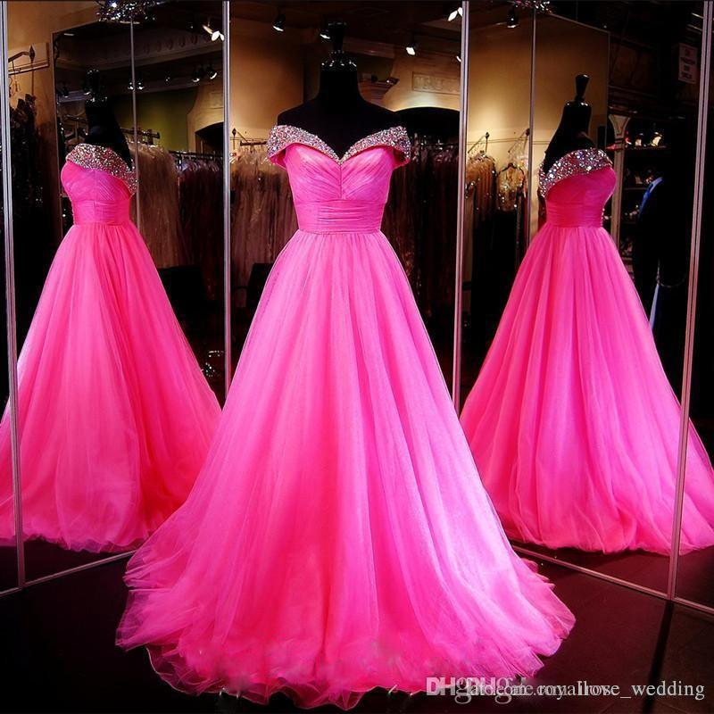 58f947cecb Hot Pink Ball Gown Prom Dress Long Sparkly Beaded Off Shoulder Pleats Floor  Length Tulle Dresses Party Evening Gowns Vestidos De Fiesta 50s Prom Dress  After ...