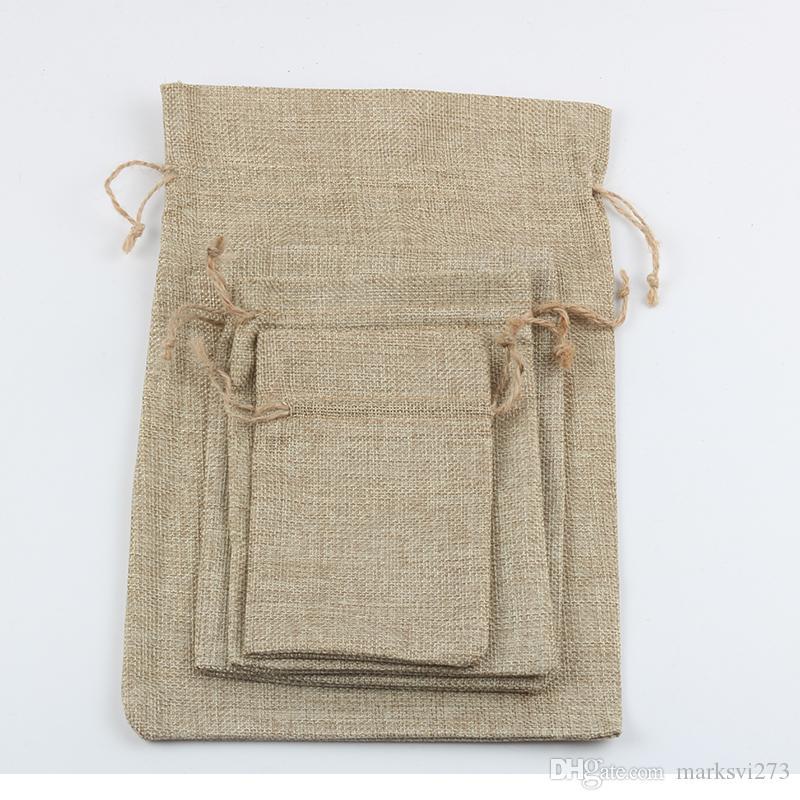 Jute Sack Gunny Dikkere Vintage Retro Oorbel Ketting Ring Armband Sieraden Tassen Candy Gift Bag Pouches Mobiele Pocket