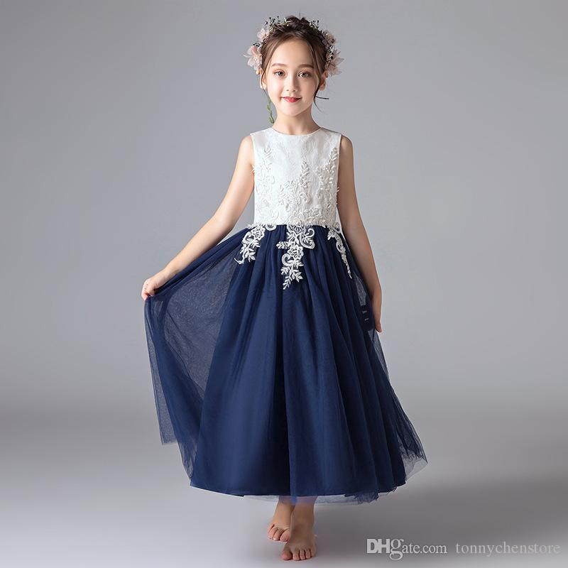 f09c4aacb 2018 New Navy Blue Lace Sash Children S Dress For Girls Baby Evening ...
