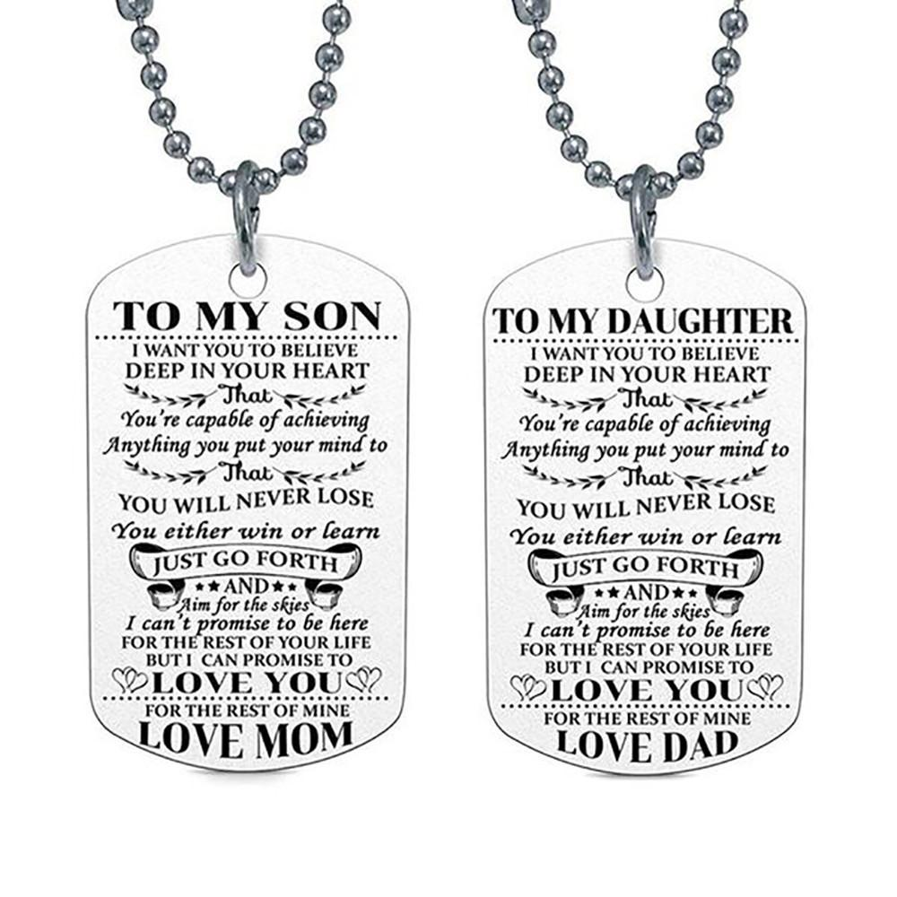 2019 To My DAD DAUGHTER Pendant Engrave Letters Necklaces Tag Family Love Birthday Gift 2018 New Hip Hop Fashion Jewelry From Spectalin