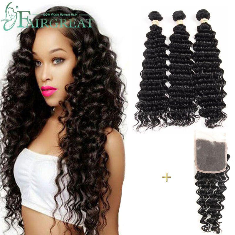 딥 웨이브 브라질 인간의 머리카락은 100 % 처리되지 않은 인간의 머리카락 확장 3 번들과 레이스 폐쇄 머리카락 짜다 번들 도매 가격