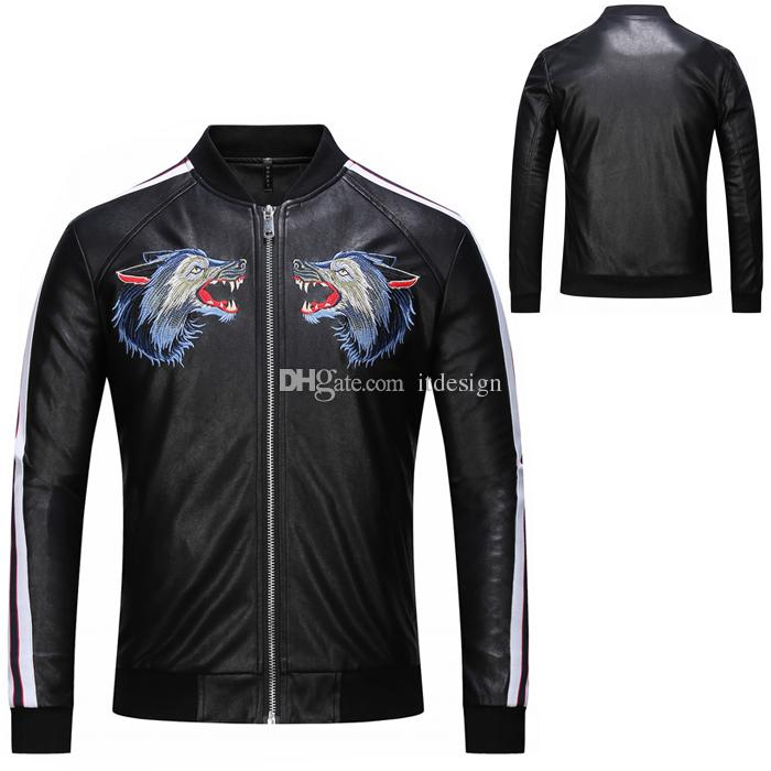Wolf Embroidery Quilted Leather Jacket Man Pu Faux Fur Slim Fit Warm