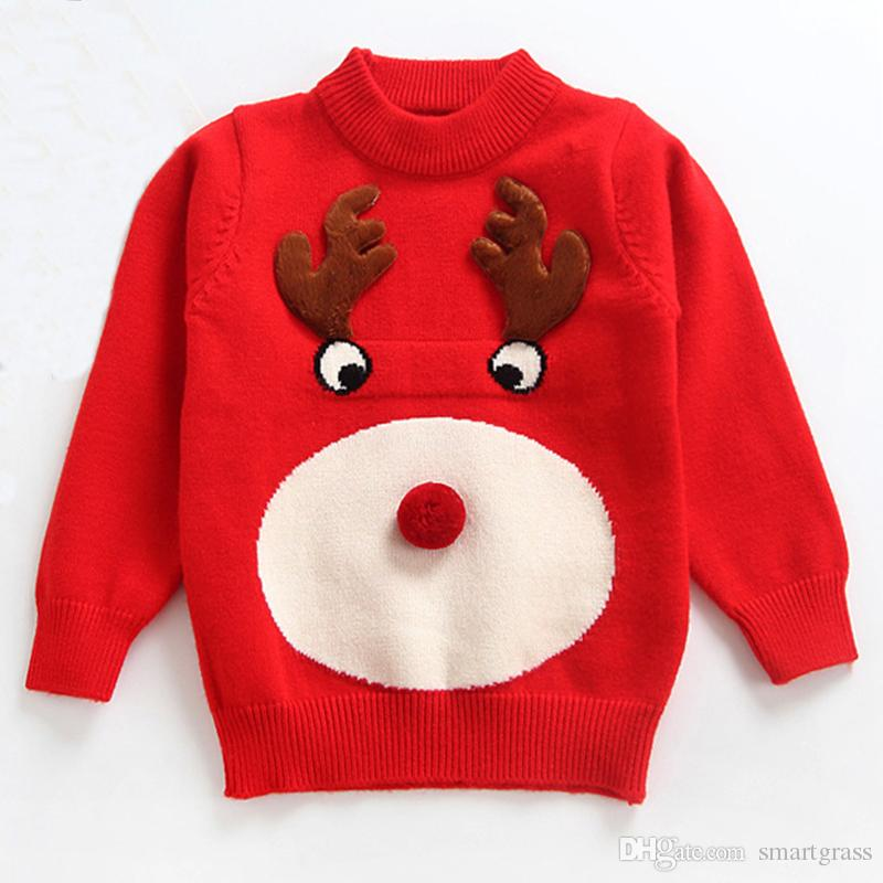 4f8769fa7 Baby Cute Knit Sweater Long Sleeve Red Christmas Baby Clothes Round ...