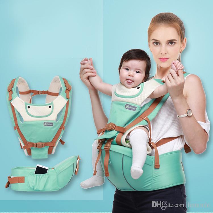 Respirável Ergonomic transportadora mochila portátil infantis montes assento portador de bebê hip com 8 maneiras