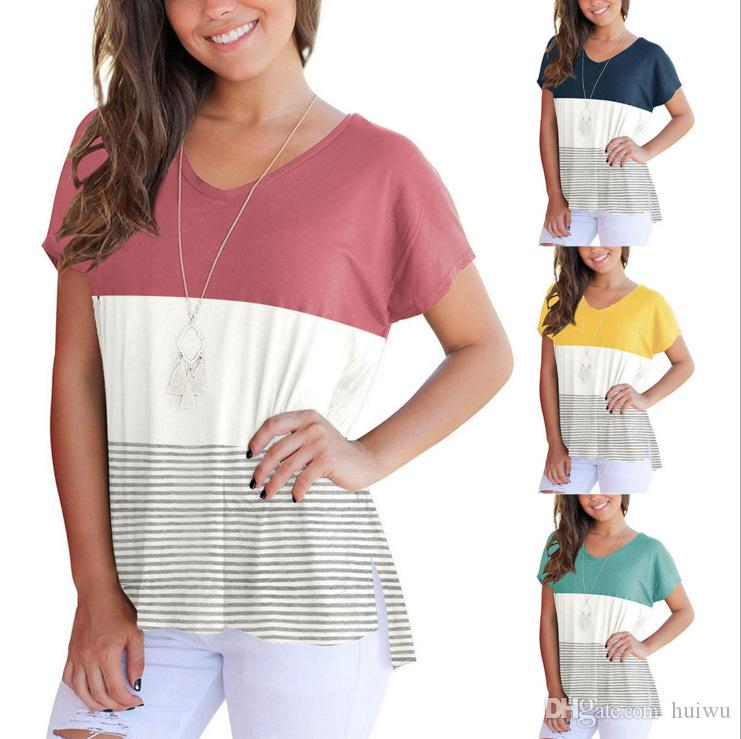 1e1b118126d0d Satın Al Kadın V Boyun Kısa Kollu Yaz T Shirt Rahat Çizgili 3 Renk  Patchwork Tee Üstleri Gevşek Tarzı Tee Gömlek, $13.77 | Dhgate.Com'da