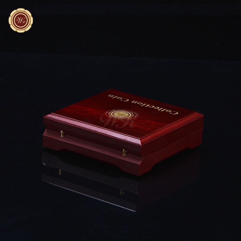 Red&Polishing Challenge Coin Gift Box Wooden Coin Display Cases Fit To Size  40*3mm As Promotion Gifts Without Coins