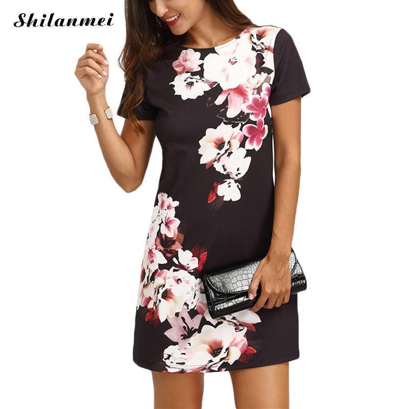 14a7d71576 Acheter Noir Floral Dress Femmes D'été Nouveau À Manches Courtes Mini Robe  Femme Casual O Cou Droite Droite Court Robes Dames Imprimer Parti Robe  Y1891001 ...