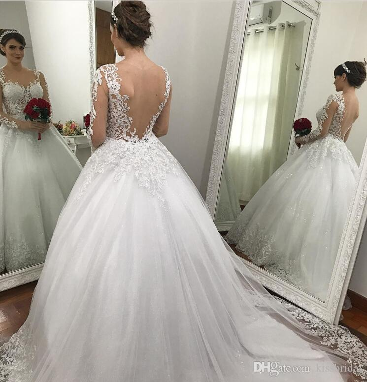 329e47d69bb Princess Ball Gown 2018 Lace Wedding Dresses Long Sleeves Bling Bling  Sequins Dubai Formal Luxury Wedding Gowns Illusion Bodice Organza Wedding  Dresses Plus ...