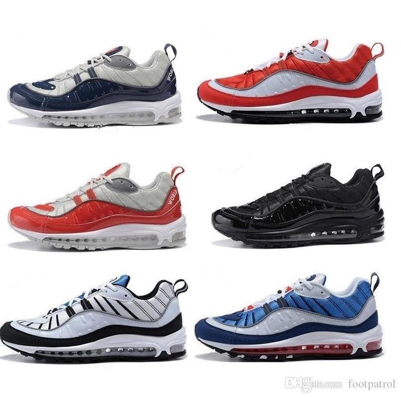 Men's 98 Gundam PK 90 OG 97 QS White Red Blue Leather Fashion Street Culture Multi Color Indoor & Outdoor High Quality Sports Shoes cheap latest reliable for sale latest collections cheap online Inexpensive frOgwdf