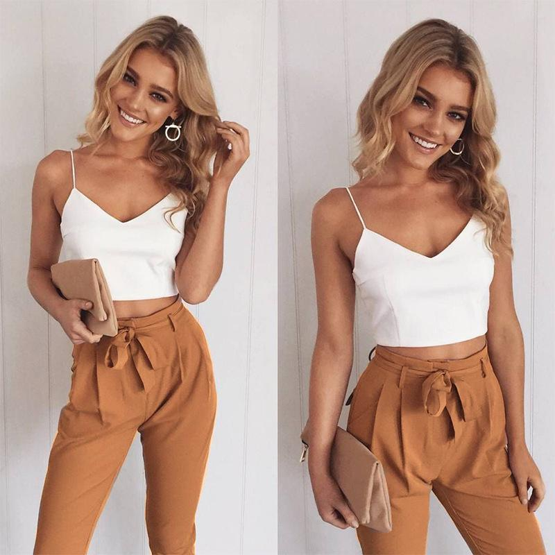 2cb82ee531fe 2019 2018 Spring Summer Women Two Piece Outfits Pants Set Rompers Jumpsuit  Long Pants Set V Neck Crop Tops Bodycon Palysuit From Clothesb911