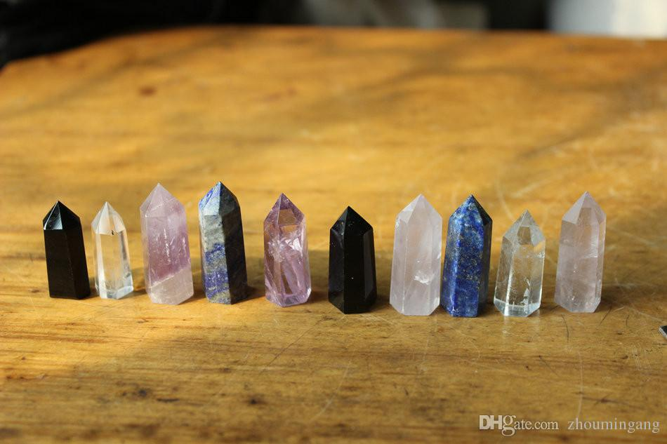 10 ps natural tiny rose clear quartz obsidian lapis amethyst prism crystal points single terminated pretty Violet purple amethyst wand point