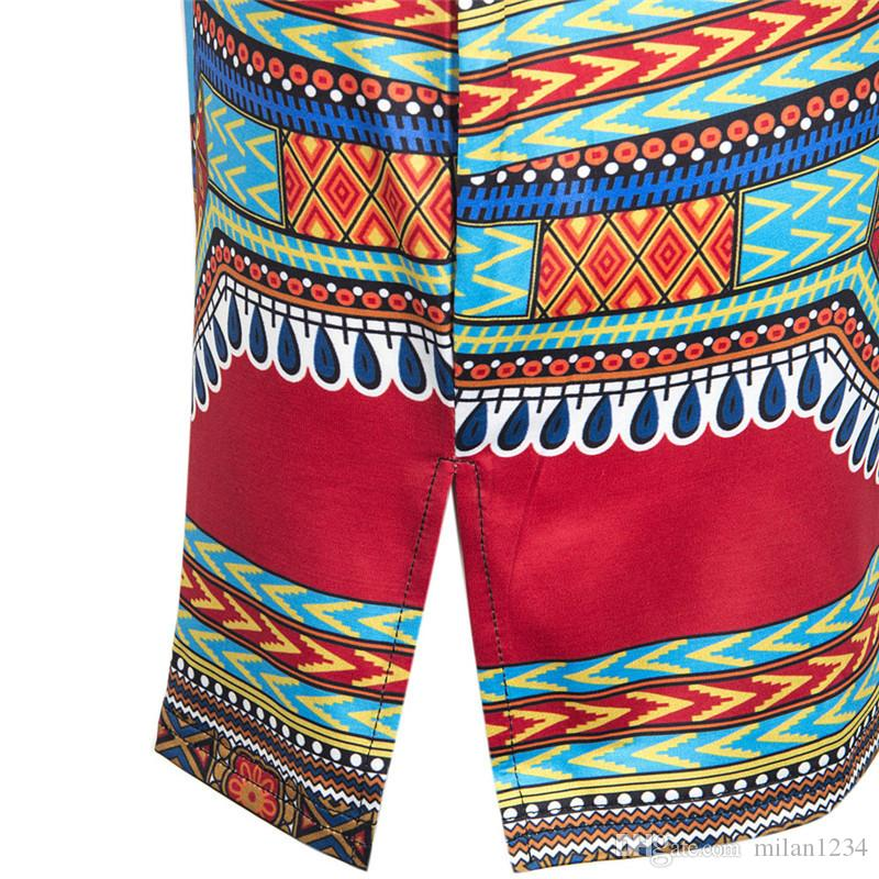 Dashiki dress 2018 Summer Sexy African Print Shirt Dresses Femme Vintage Mini hippie Plus Size Boho Women Casual Clothing