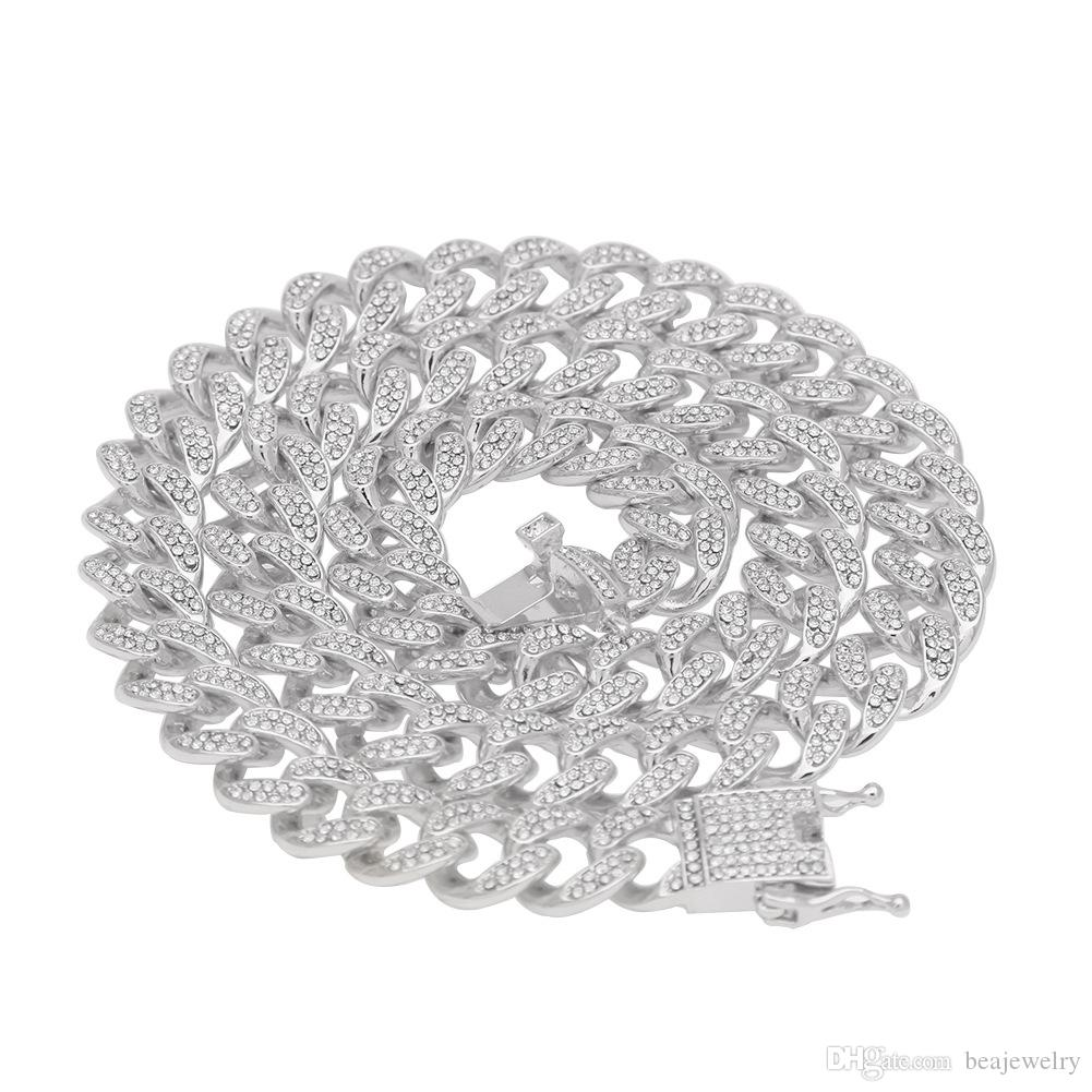 Hip Hop Bling Iced Out 13mm 16-24inches Collana a catena a maglie cubane Gioielli in argento oro per uomo