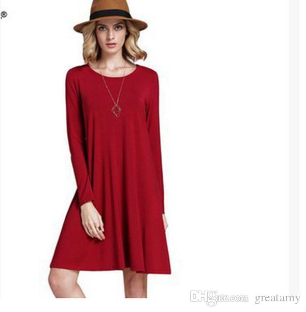 Hot sale women's fashion stylish collar full circle swing dress retro long sleeve dress plus size S-5XL