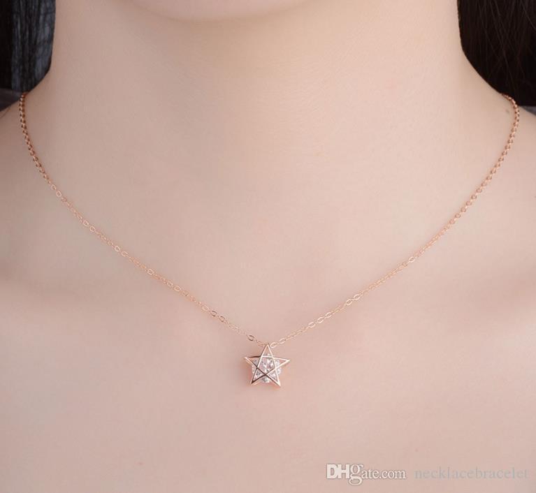 Корейский издание простой s925 чистого серебра инкрустированный циркон ожерелье кристалл звезды кулон ювелирные изделия оптом женская мода ожерелье подарок