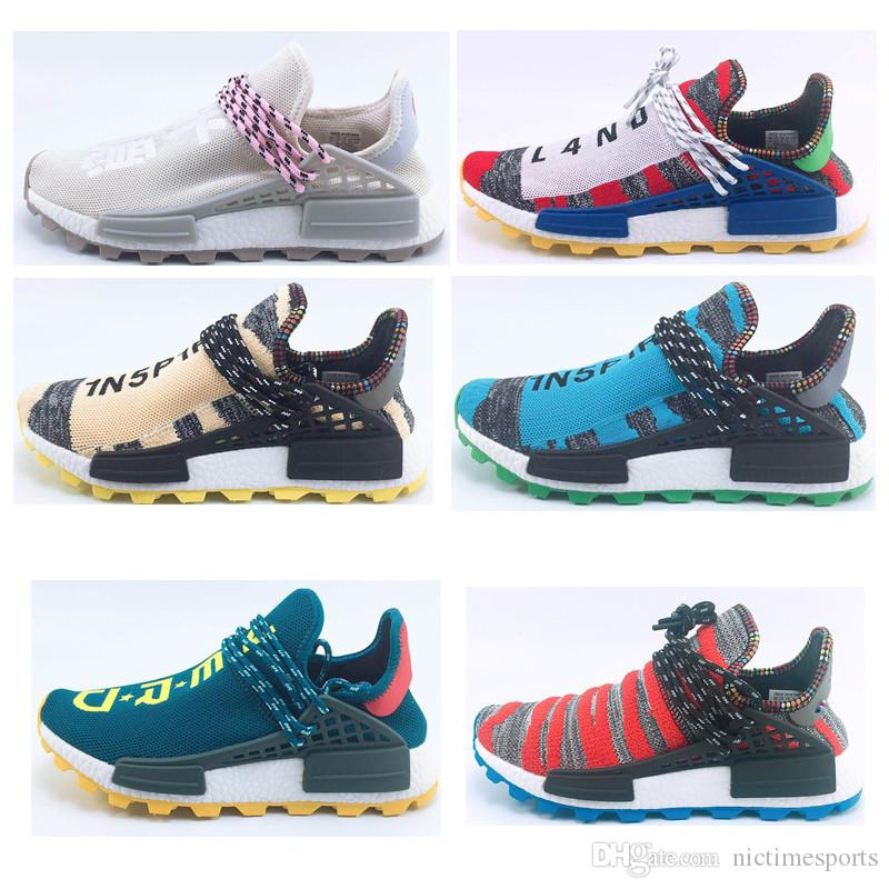 c5215f663 2019 36 47 Newest HomeComing Solar Pack Afro Red Nerd NMD Human Race Hi Res  Aqua Running Shoes Pharrell Williams HU Runner Sports Trainer Sneaker From  ...