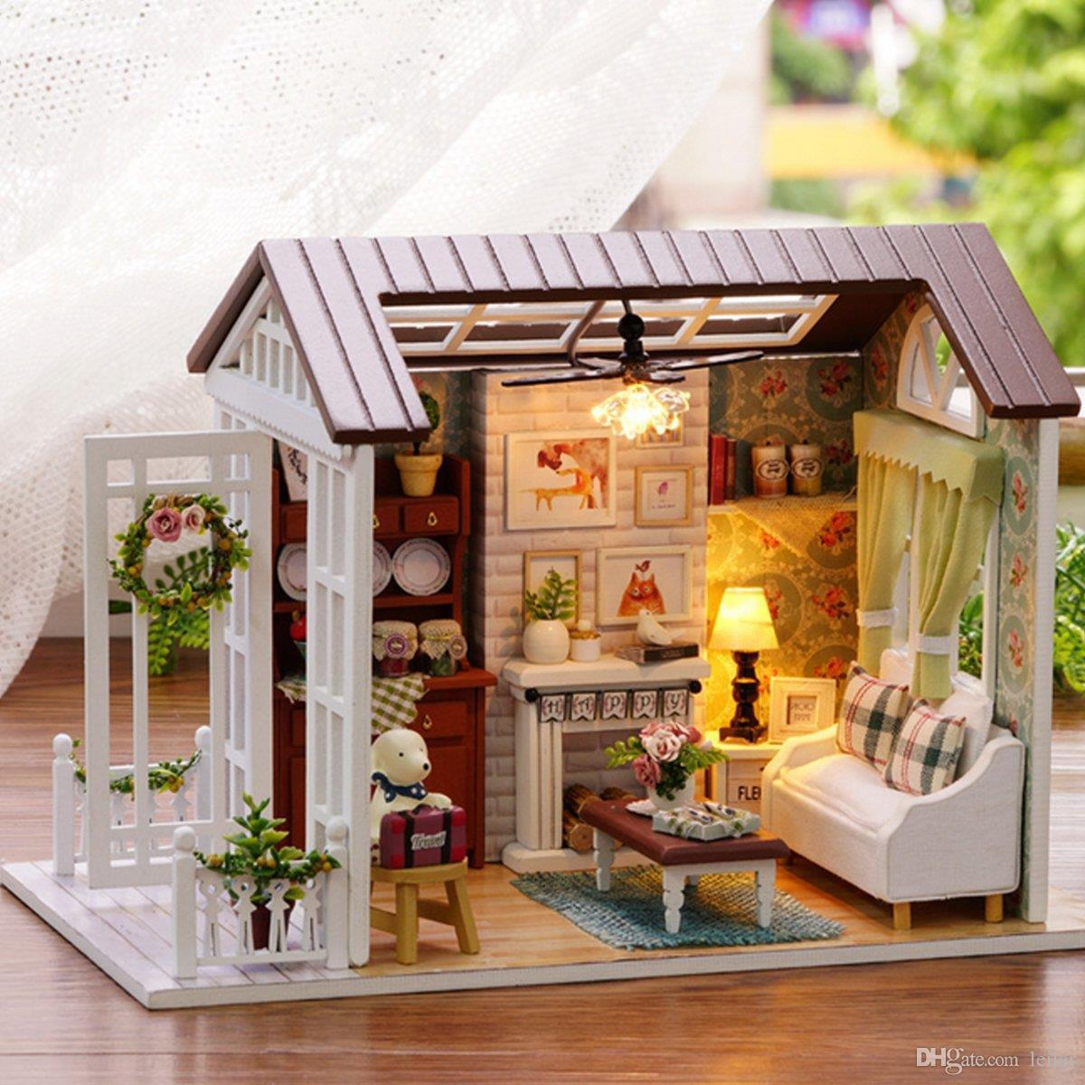 Wholesale Happy Times Wood Dollhouse Miniature Led