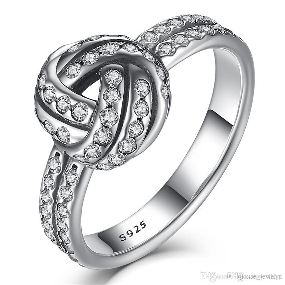 2018 Classic 100 925 Sterling Silver Love Knot Ring Sparkling Two