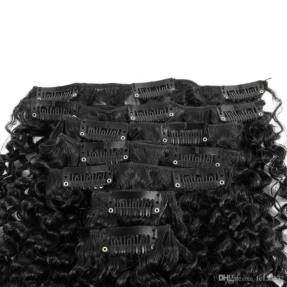 Монгольские странные вьющиеся волосы в 7 шт. / Установите клип в наращивание волос человека натуральные зажима для волос 4B 4C