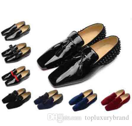 43c7b91535b Brand Red Bottom Loafers Luxury Party Wedding Shoes Designer BLACK PATENT  LEATHER Suede with tassels Spikes Studded dress shoes for mens