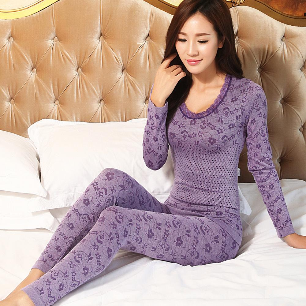 eee501aa094d 2019 2017 Spring Sleepwear Women Pajamas Sets O Neck Jacquard Long Pajama  Suit Floral Bodycon Women Thermal Underwear Suit Soft From Matilian