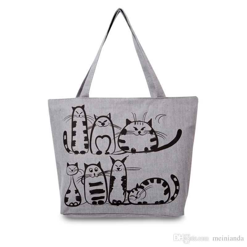 74ab47e20 Cartoon Cats Printed Beach Zipper Bag Bolsa Feminina Canvas Tote Shopping  Handbags Sac A Main Femme De Marque Rosetti Handbags Cheap Bags From  Meinianda, ...