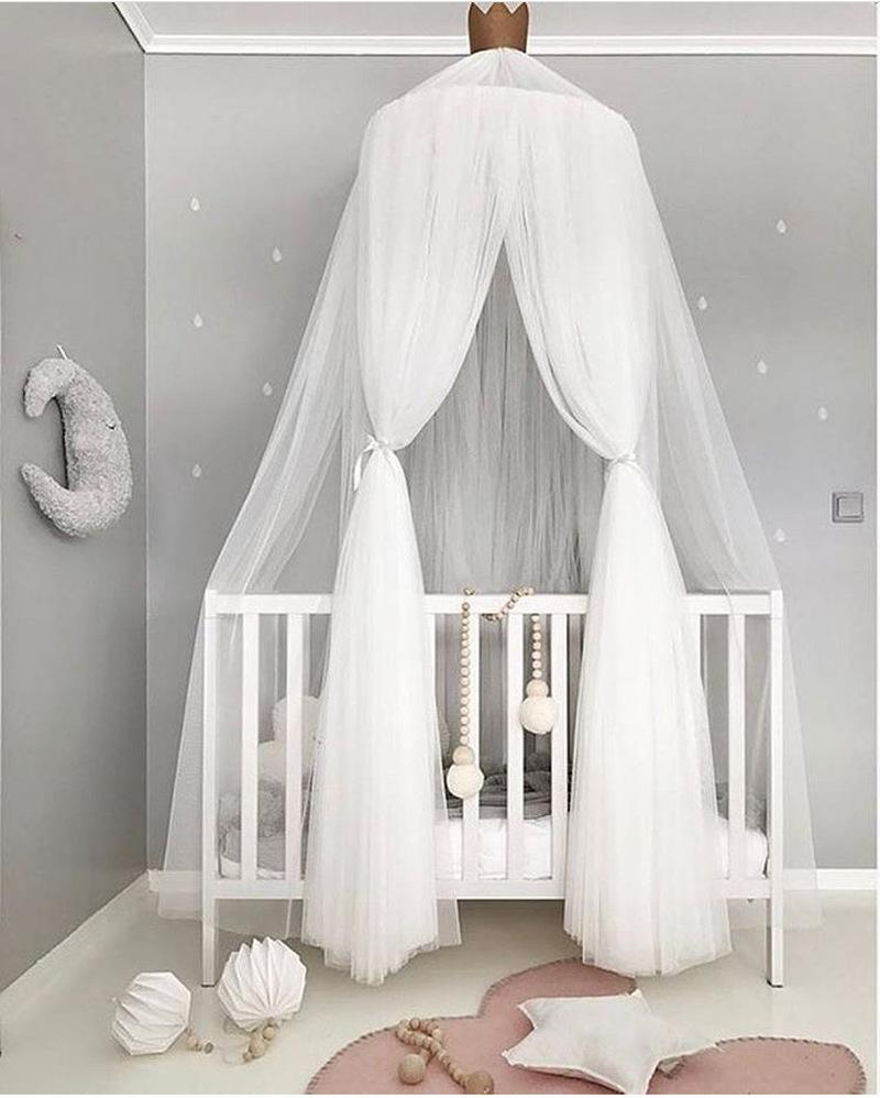 Kid Bed Mosquito Net Dome Hanging Cotton Canopy Curtain For Bedroom Decoration Curtaintents Control Methods