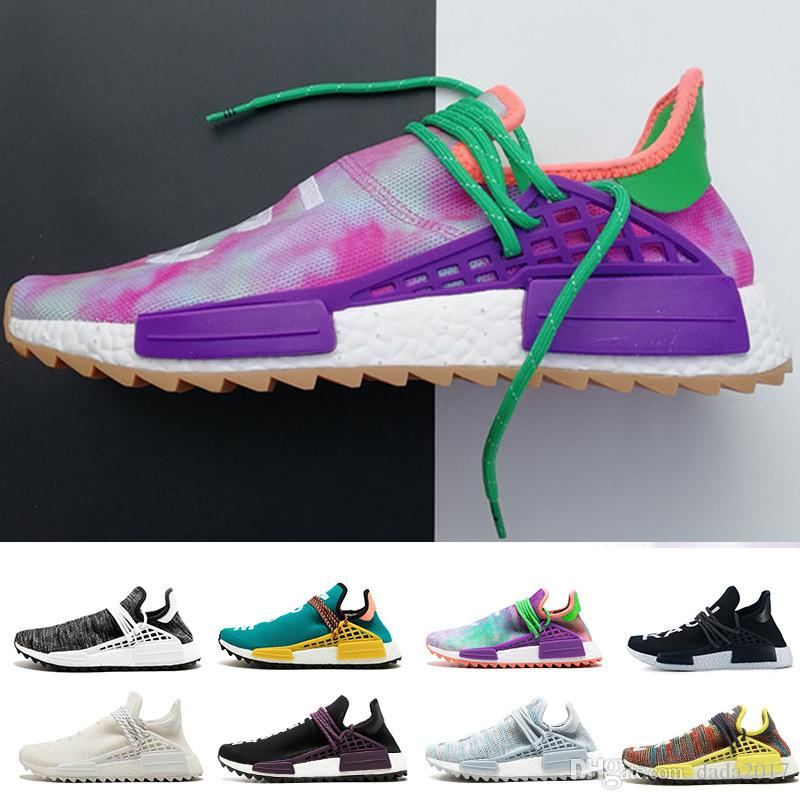 ce19418cd0ef2 Wholesale 2018 Human Race Pharrell Williams Running Shoes Holi Equality  Blank Canvas Core Black Sun Glow Yellow Red Trainers Sports Sneakers Womens  Running ...