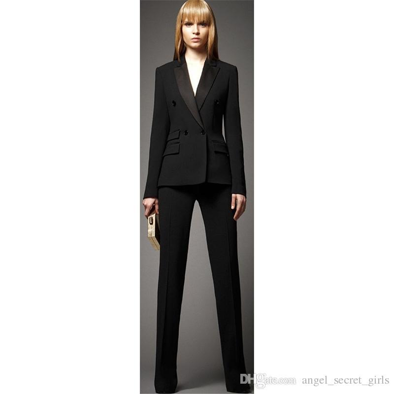 2019 Ladies Business Suit Set Jacket Pants Black Double Breasted