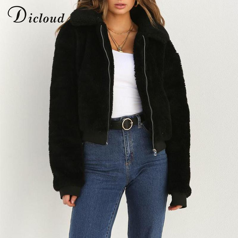 92a083cd4 Dicloud winter teddy basic jacket sherpa parka women autumn 2018 warm long  sleeve bomber jacket puffer faux fur coat casual