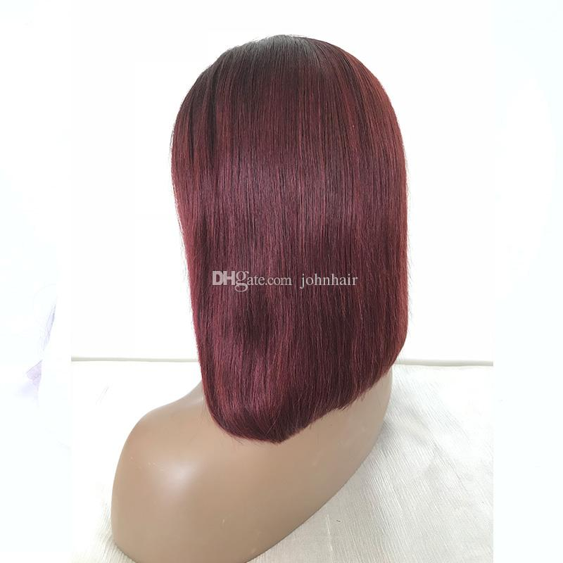 1B/99J Short Human Hair Bob Wigs With Baby Hair Pre Plucked Virgin Lace Front Wig Ombre Brazilian Full Lace Wigs Black Women