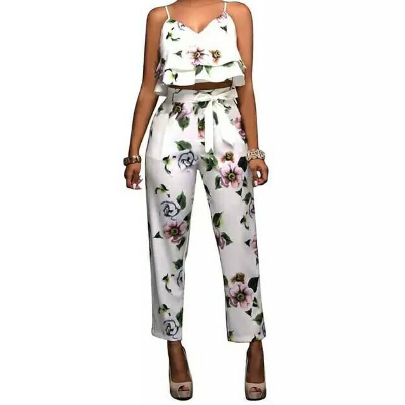 31cce76ac8a6b Satın Al Seksi Kadınlar Iki Parçalı Kıyafetler Yaz Suit Renkli Tropikal  Baskı Soğuk Omuz Mahsul En + Uzun Pantolon Kadın Setleri, $30.22 |  DHgate.Com'da