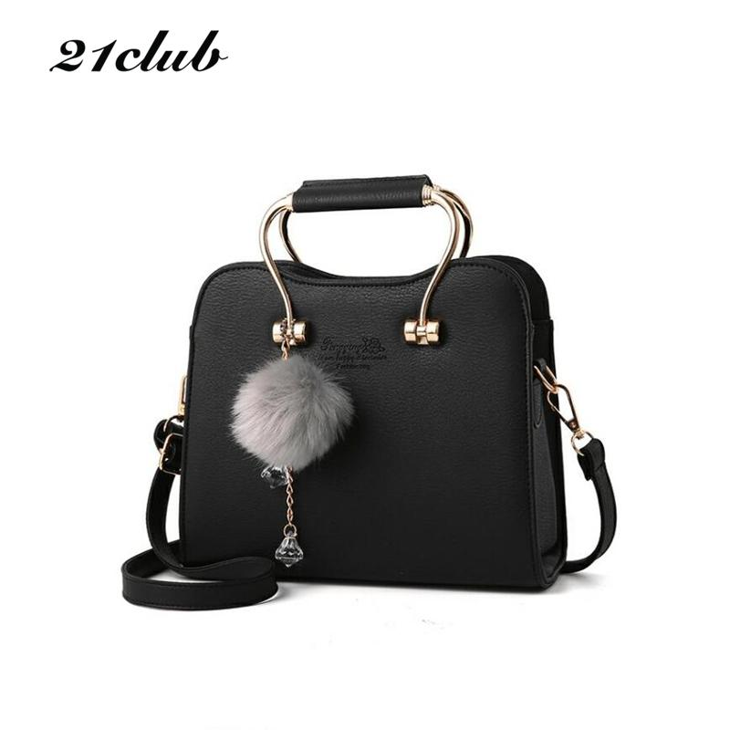 21club Brand Women Chains Charming Flap Solid Hairball Metal Handle Handabg  New Ladies Purse Messenger Crossbody Shoulder Bags Aliexpress  Aliexpress.com ... 68d1cf657131f